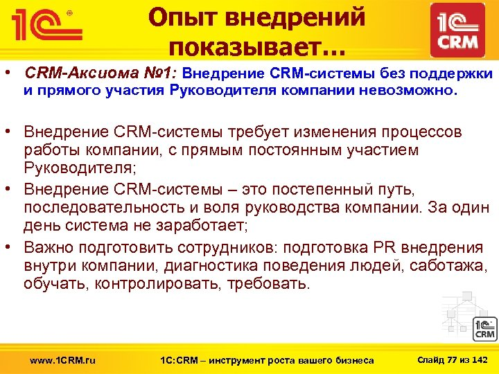 Опыт внедрений показывает… • CRM-Аксиома № 1: Внедрение CRM-системы без поддержки и прямого участия