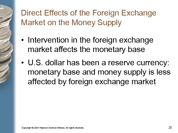Direct Effects of the Foreign Exchange Market on the Money Supply • Intervention in