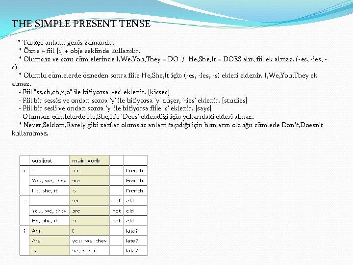THE SIMPLE PRESENT TENSE * Türkçe anlamı geniş zamandır. * Özne + fiil [1]