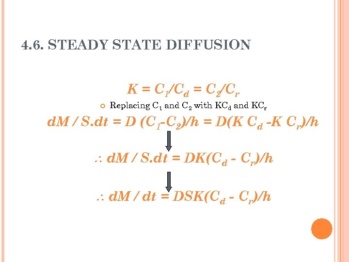 4. 6. STEADY STATE DIFFUSION K = C 1/Cd = C 2/Cr Replacing C