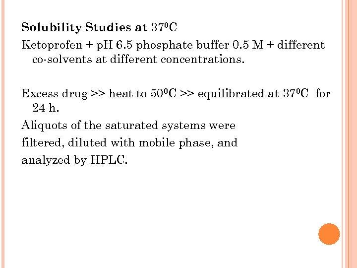 Solubility Studies at 370 C Ketoprofen + p. H 6. 5 phosphate buffer 0.