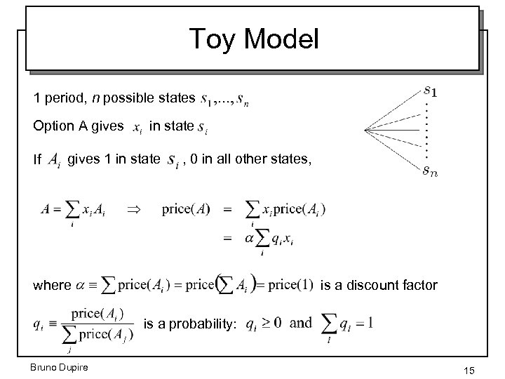 Toy Model 1 period, n possible states Option A gives If in state gives