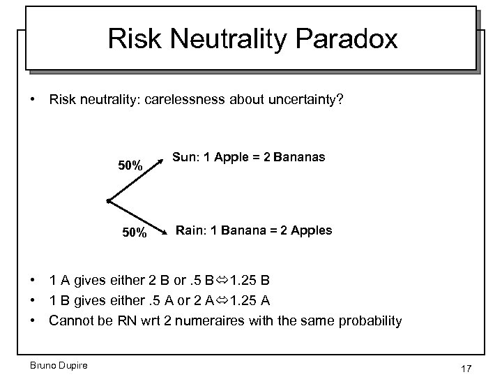 Risk Neutrality Paradox • Risk neutrality: carelessness about uncertainty? 50% Sun: 1 Apple =