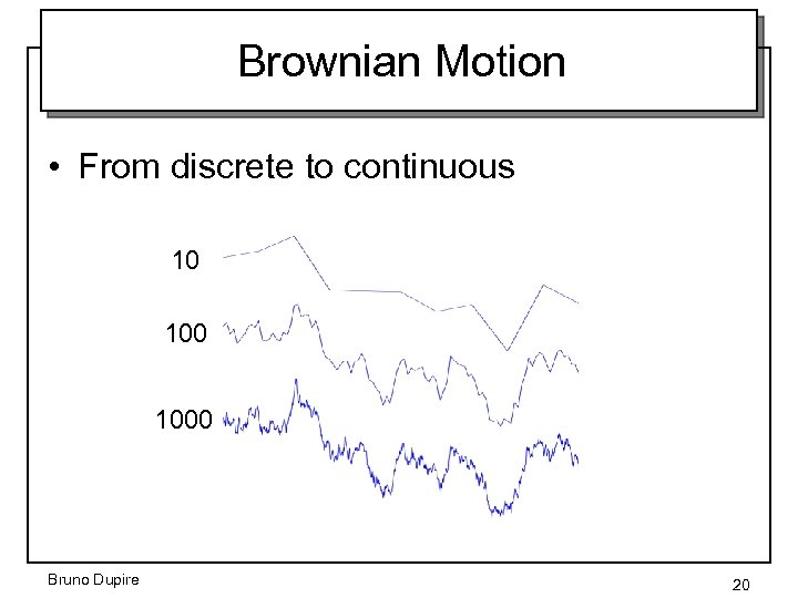 Brownian Motion • From discrete to continuous 10 1000 Bruno Dupire 20
