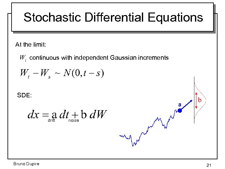 Stochastic Differential Equations At the limit: continuous with independent Gaussian increments SDE: a drift