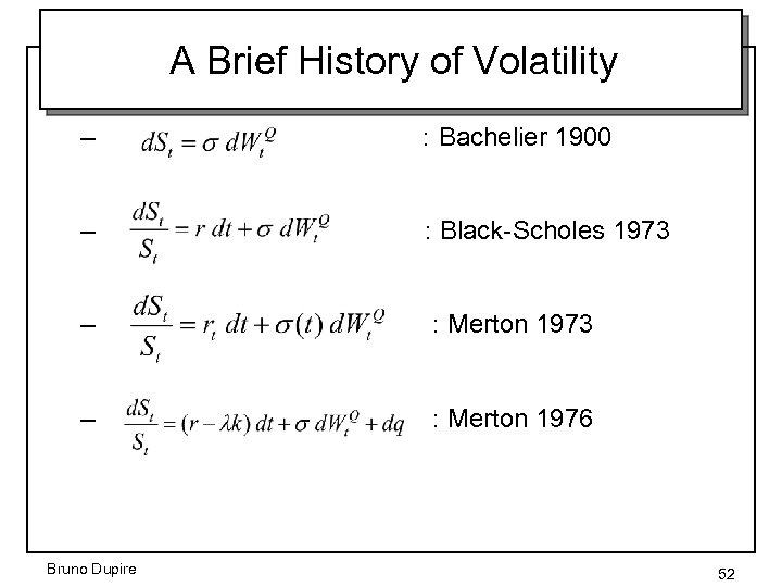 A Brief History of Volatility – : Bachelier 1900 – : Black-Scholes 1973 –