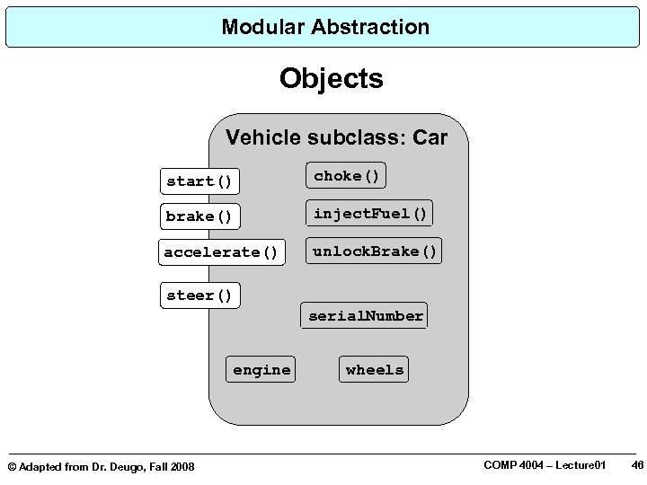 Modular Abstraction Objects Vehicle subclass: Car start() choke() brake() inject. Fuel() accelerate() unlock. Brake()