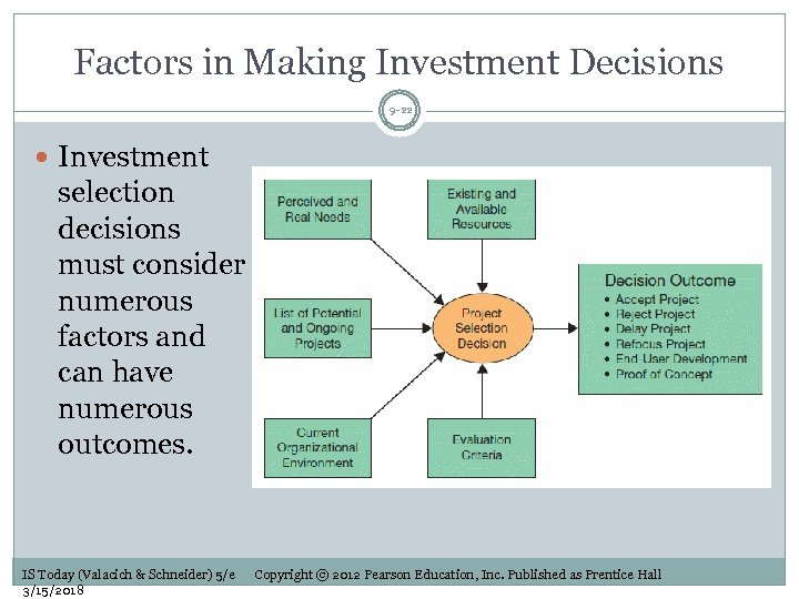 Factors in Making Investment Decisions 9 -22 Investment selection decisions must consider numerous factors
