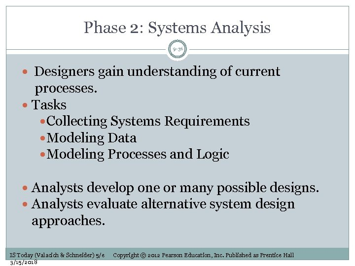 Phase 2: Systems Analysis 9 -36 Designers gain understanding of current processes. Tasks Collecting