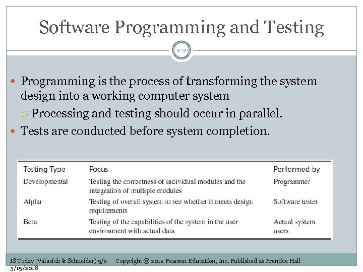 Software Programming and Testing 9 -50 Programming is the process of transforming the system