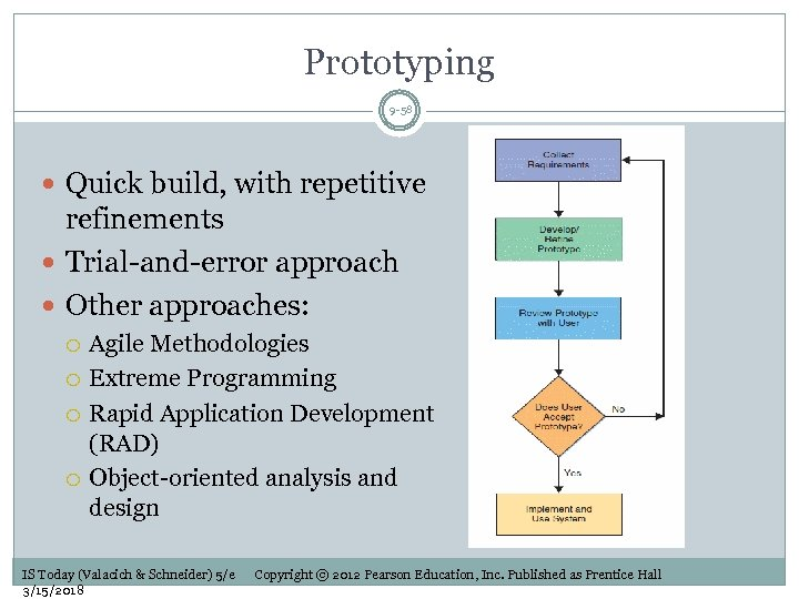 Prototyping 9 -58 Quick build, with repetitive refinements Trial-and-error approach Other approaches: Agile Methodologies
