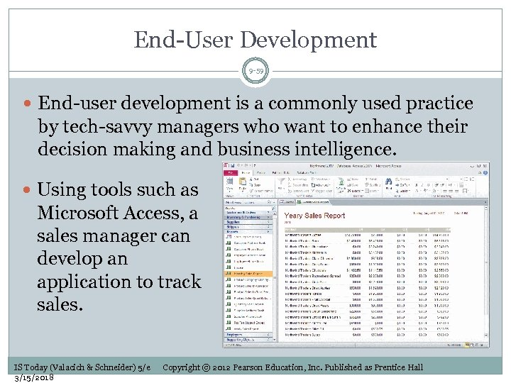 End-User Development 9 -59 End-user development is a commonly used practice by tech-savvy managers