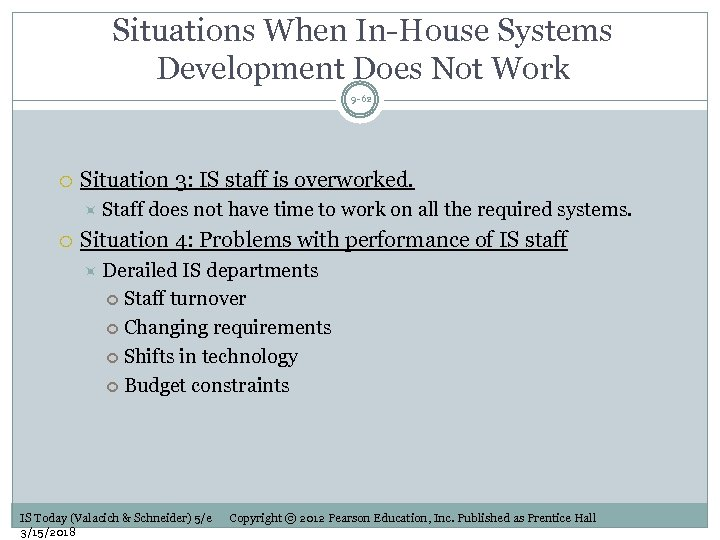 Situations When In-House Systems Development Does Not Work 9 -62 Situation 3: IS staff