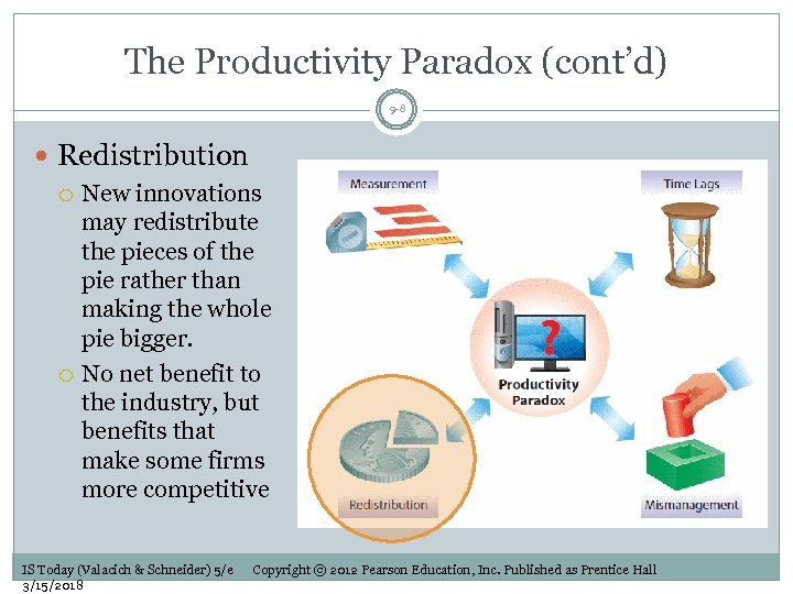 The Productivity Paradox (cont'd) 9 -8 Redistribution New innovations may redistribute the pieces of