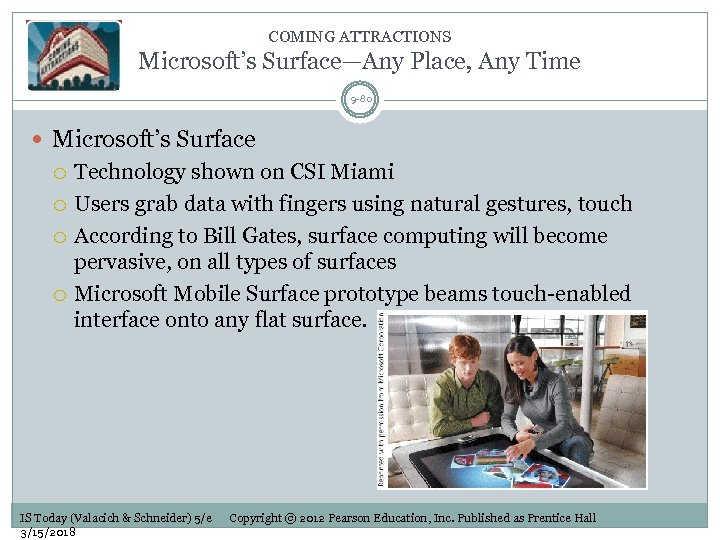 COMING ATTRACTIONS Microsoft's Surface—Any Place, Any Time 9 -80 Microsoft's Surface Technology shown on