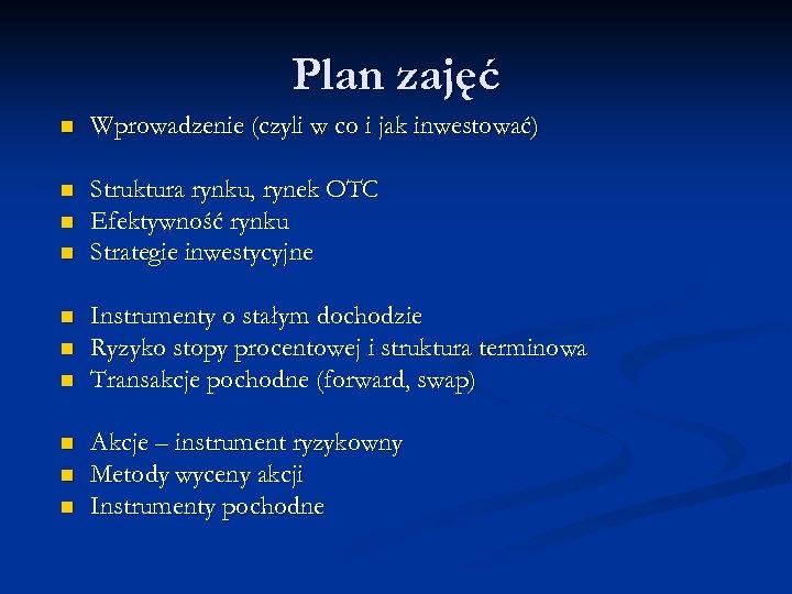 Plan zajęć n Wprowadzenie (czyli w co i jak inwestować) n Struktura rynku, rynek