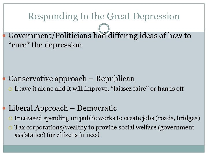 "Responding to the Great Depression Government/Politicians had differing ideas of how to ""cure"" the"