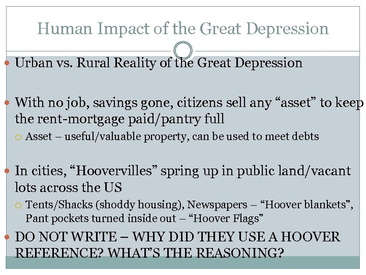 Human Impact of the Great Depression Urban vs. Rural Reality of the Great Depression