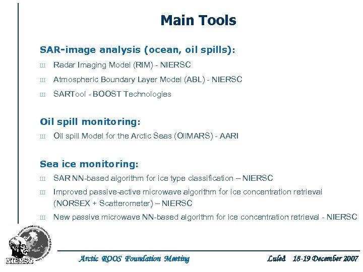 Main Tools SAR-image analysis (ocean, oil spills): Ш Radar Imaging Model (RIM) - NIERSC