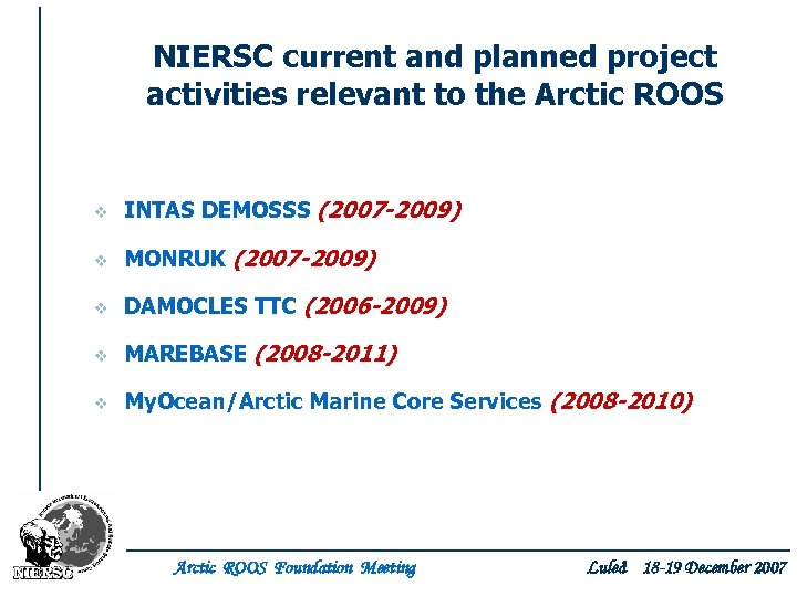 NIERSC current and planned project activities relevant to the Arctic ROOS v INTAS DEMOSSS