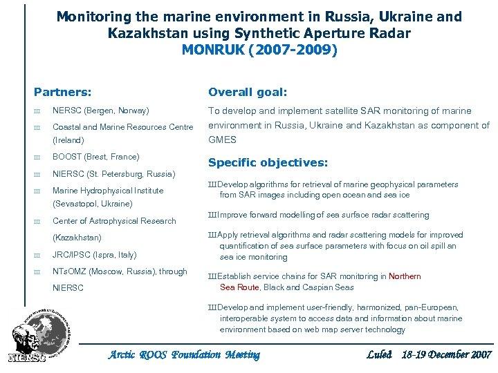 Monitoring the marine environment in Russia, Ukraine and Kazakhstan using Synthetic Aperture Radar MONRUK