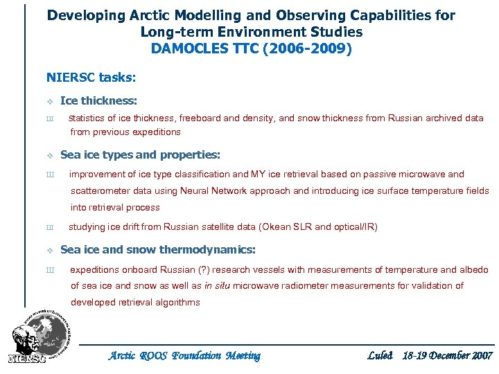 Developing Arctic Modelling and Observing Capabilities for Long-term Environment Studies DAMOCLES TTC (2006 -2009)