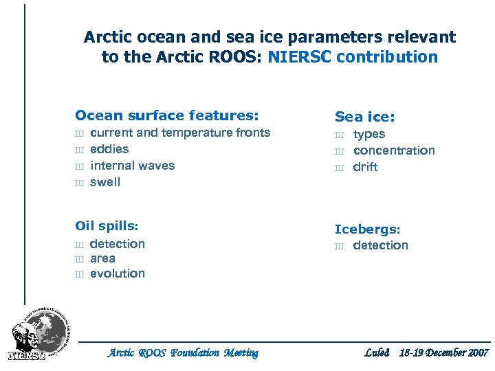 Arctic ocean and sea ice parameters relevant to the Arctic ROOS: NIERSC contribution Ocean