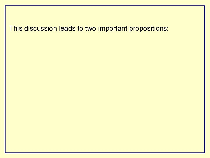 This discussion leads to two important propositions: