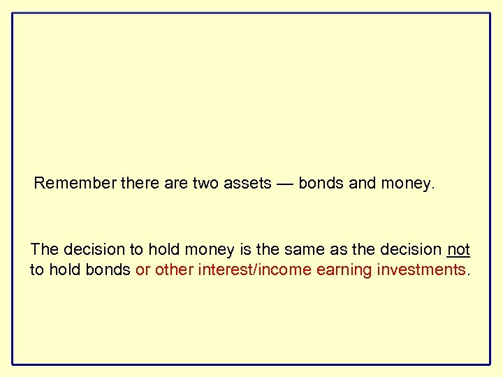Remember there are two assets — bonds and money. The decision to hold money