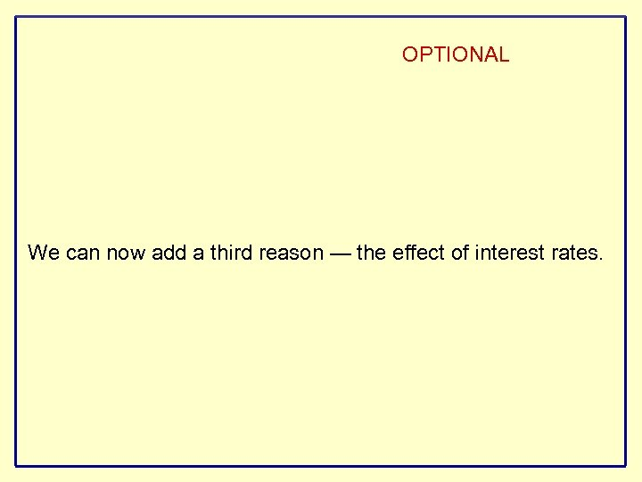 OPTIONAL We can now add a third reason — the effect of interest rates.