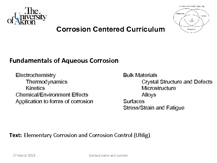 Corrosion Centered Curriculum Fundamentals of Aqueous Corrosion Electrochemistry Thermodynamics Kinetics Chemical/Environment Effects Application to