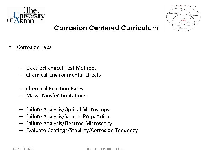 Corrosion Centered Curriculum • Corrosion Labs – Electrochemical Test Methods – Chemical-Environmental Effects –
