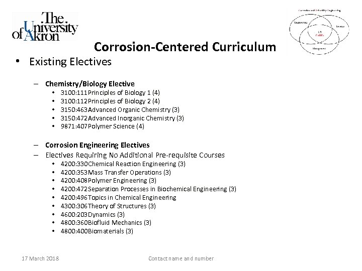 Corrosion-Centered Curriculum • Existing Electives – Chemistry/Biology Elective • • • 3100: 111 Principles