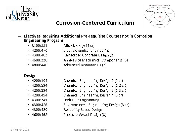 Corrosion-Centered Curriculum – Electives Requiring Additional Pre-requisite Courses not in Corrosion Engineering Program •