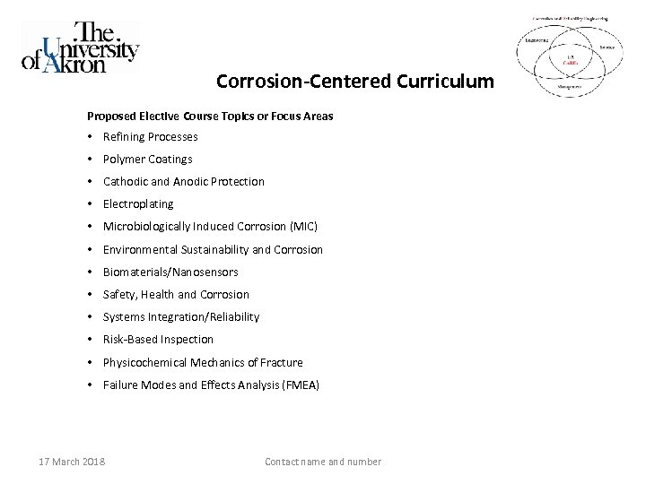 Corrosion-Centered Curriculum Proposed Elective Course Topics or Focus Areas • Refining Processes • Polymer