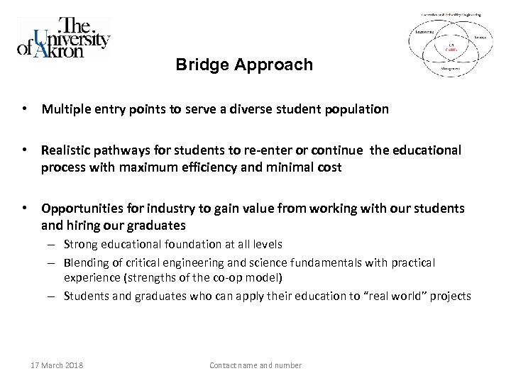 Bridge Approach • Multiple entry points to serve a diverse student population • Realistic
