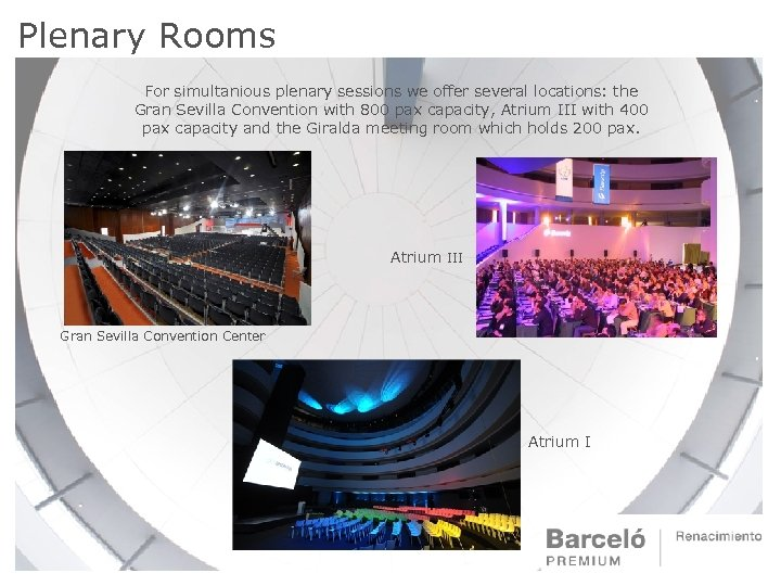 Plenary Rooms For simultanious plenary sessions we offer several locations: the Gran Sevilla Convention