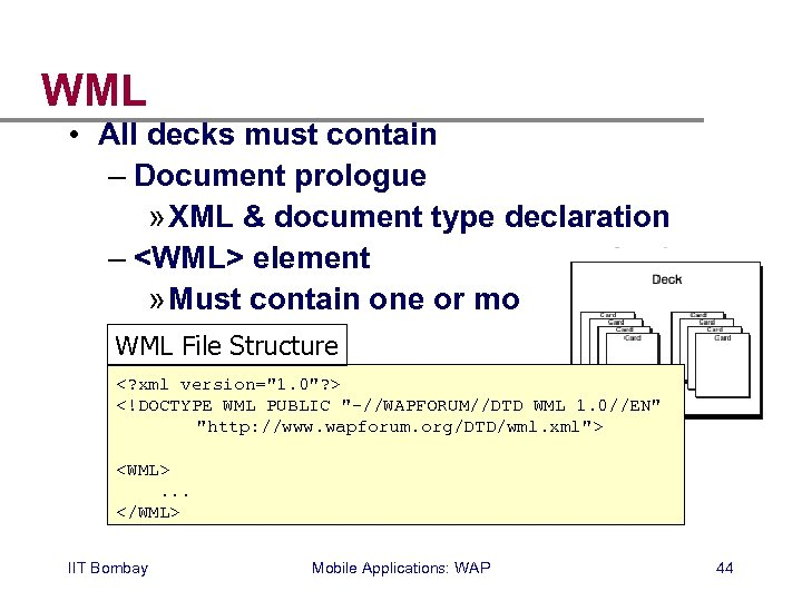 WML • All decks must contain – Document prologue » XML & document type