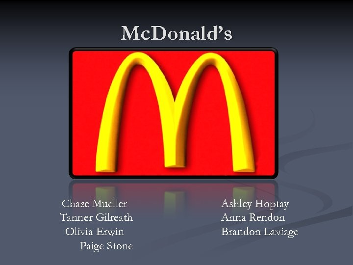 Mc. Donald's Chase Mueller Tanner Gilreath Olivia Erwin Paige Stone Ashley Hoptay Anna Rendon