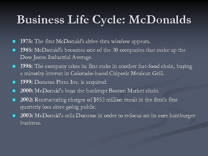 Business Life Cycle: Mc. Donalds n n n n 1975: The first Mc. Donald's