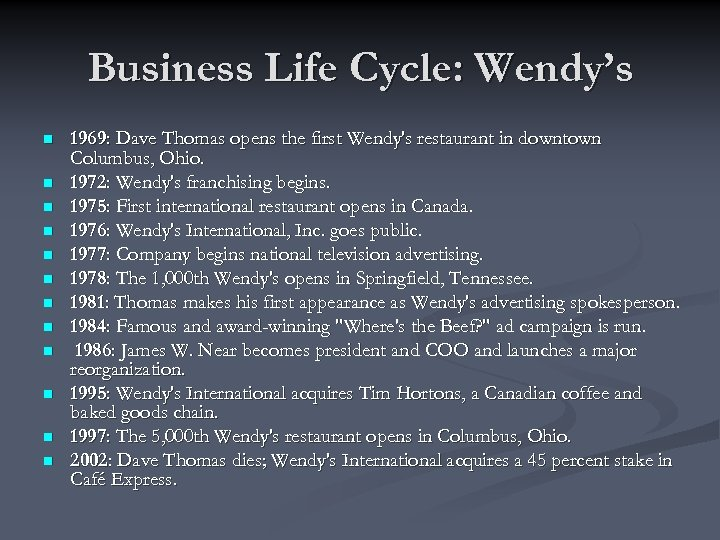 Business Life Cycle: Wendy's n n n 1969: Dave Thomas opens the first Wendy's