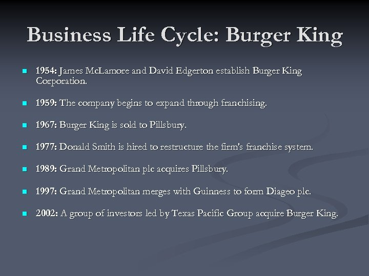 Business Life Cycle: Burger King n 1954: James Mc. Lamore and David Edgerton establish
