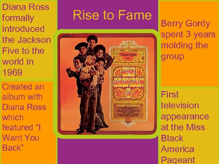 Diana Ross formally introduced the Jackson Five to the world in 1969 Created an