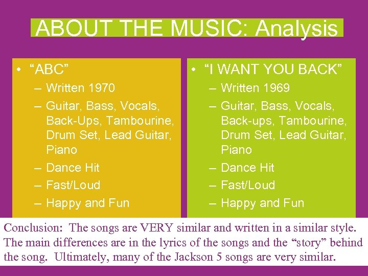 "ABOUT THE MUSIC: Analysis • ""ABC"" – Written 1970 – Guitar, Bass, Vocals, Back-Ups,"