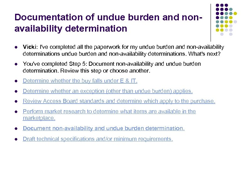 Documentation of undue burden and nonavailability determination l Vicki: I've completed all the paperwork