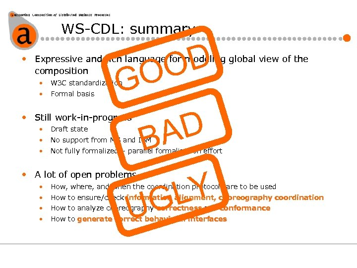 WS-CDL: summary D O O • Expressive and rich language for modeling global view