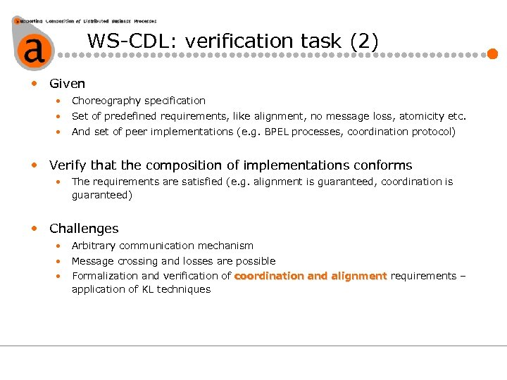 WS-CDL: verification task (2) • Given • Choreography specification • Set of predefined requirements,