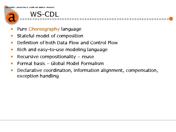 WS-CDL • Pure Choreography language • Stateful model of composition • Definition of both