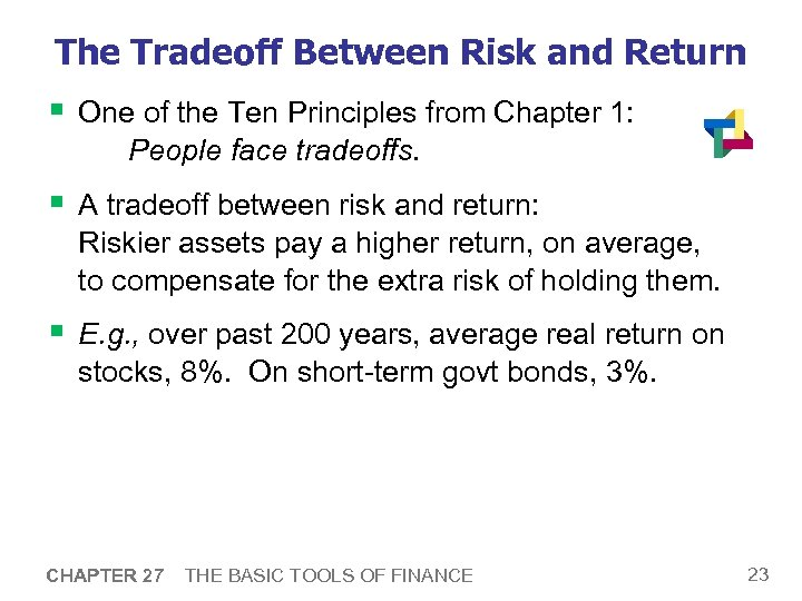 The Tradeoff Between Risk and Return § One of the Ten Principles from Chapter