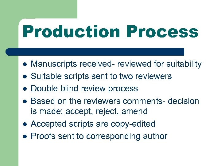 Production Process l l l Manuscripts received- reviewed for suitability Suitable scripts sent to